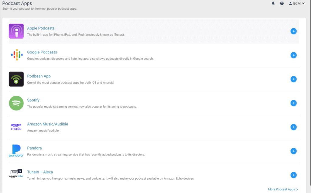 The Podcast apps menu on Podbean