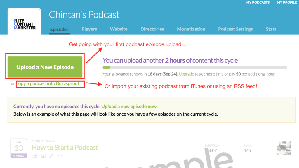 The page to upload a new episode with how much content can be uploaded on this cycle