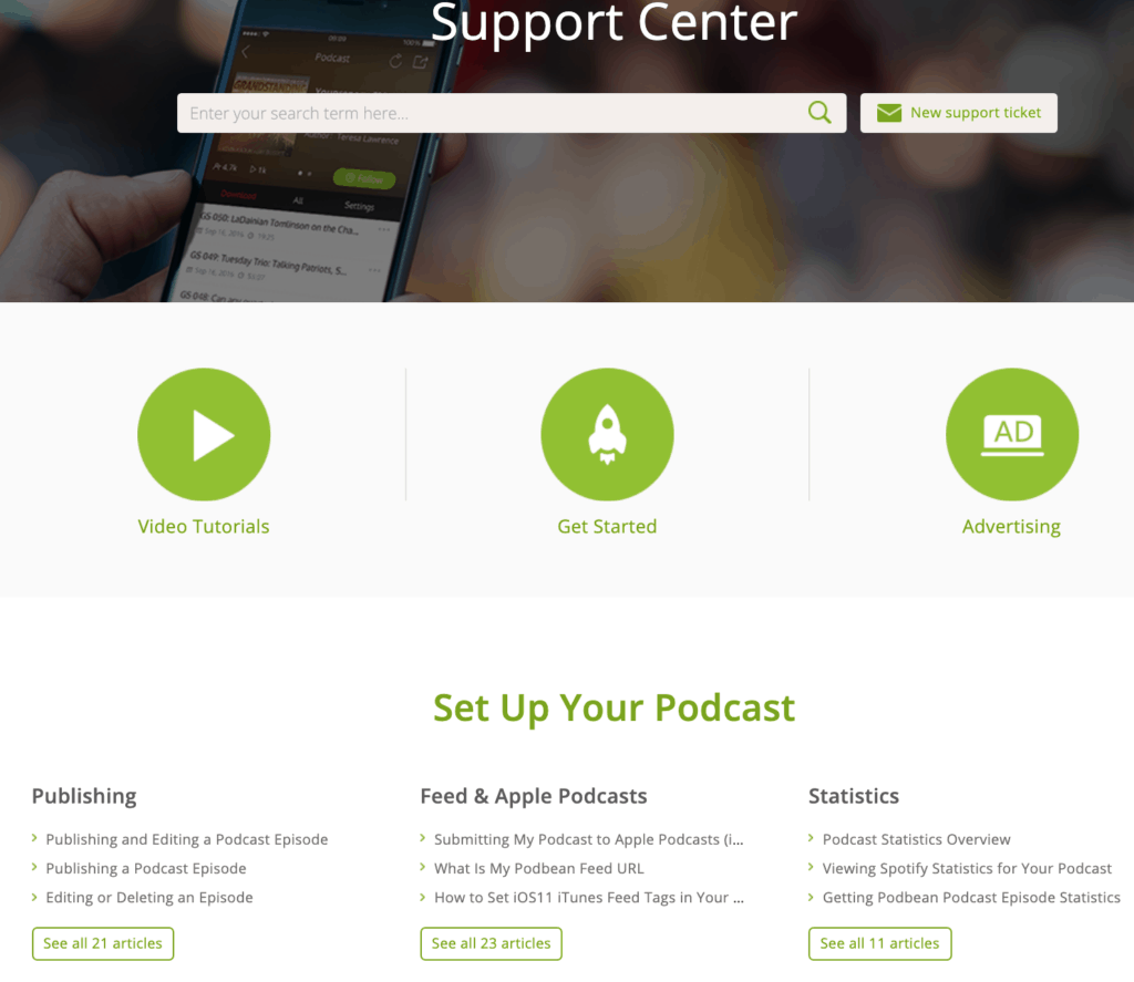 Set up your podcast page on Podbean