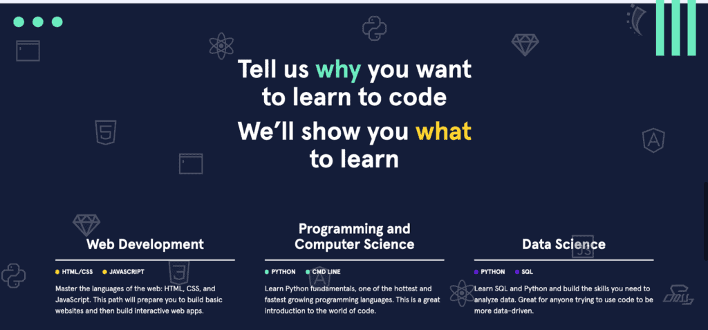 CodeAcademy welcome page