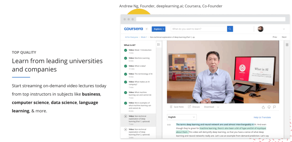 SC of a course page on top learning platform coursera