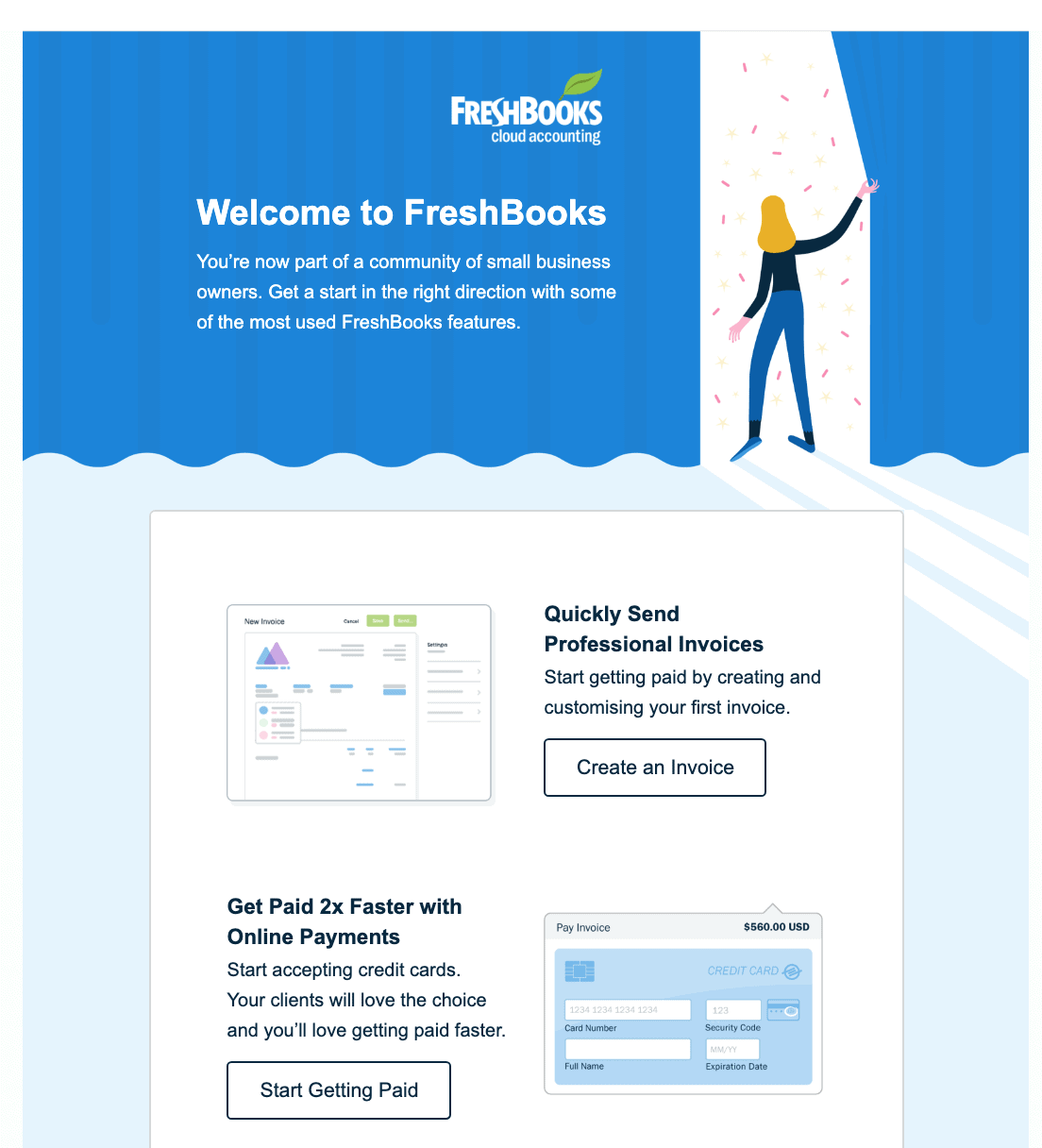 The welcome page of FreshBooks software