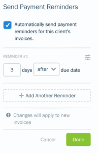 Payment reminder creation