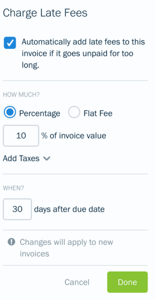 The late fees form on Freshbooks