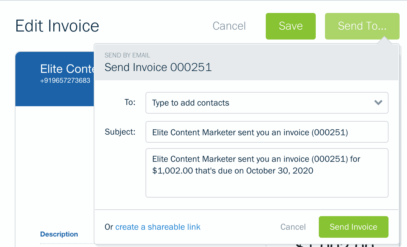 Editing an invoice on Freshbooks