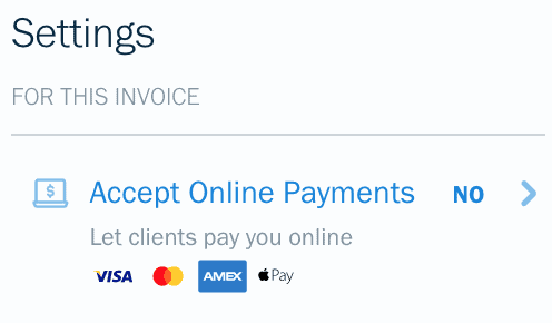 The settings for accepting online payments on freshbooks review
