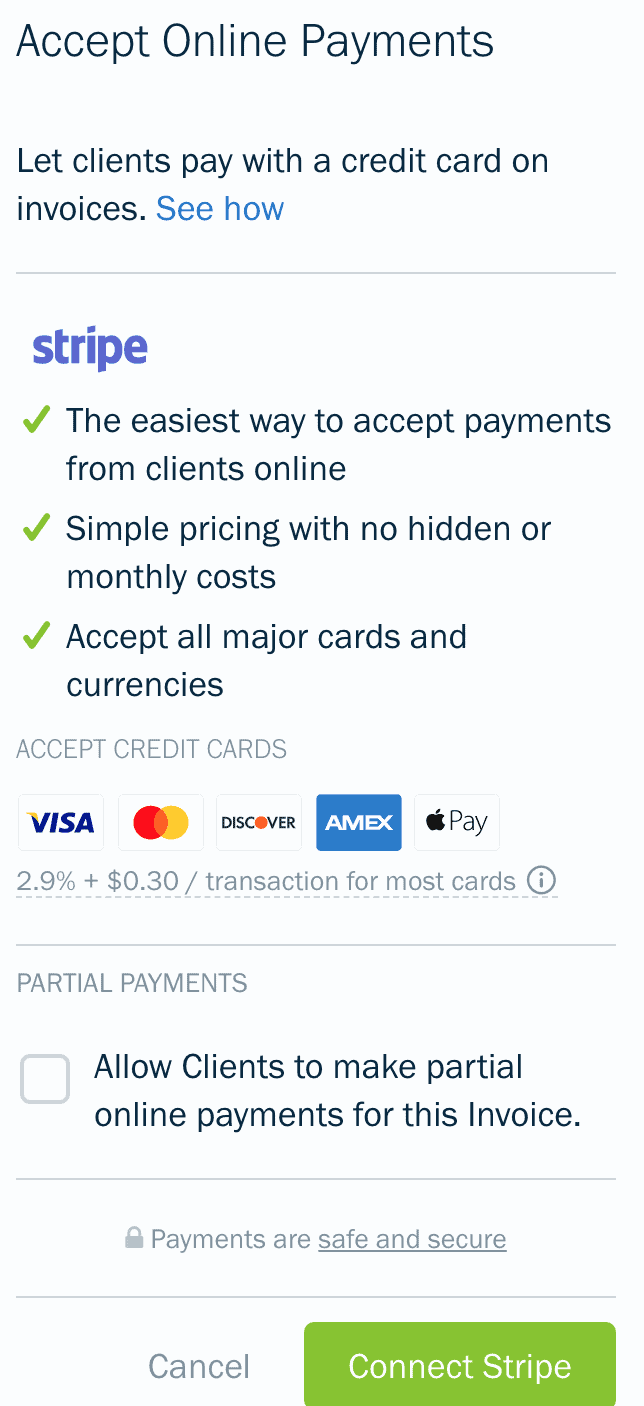 A list of the various payment gateways available on Freshbooks