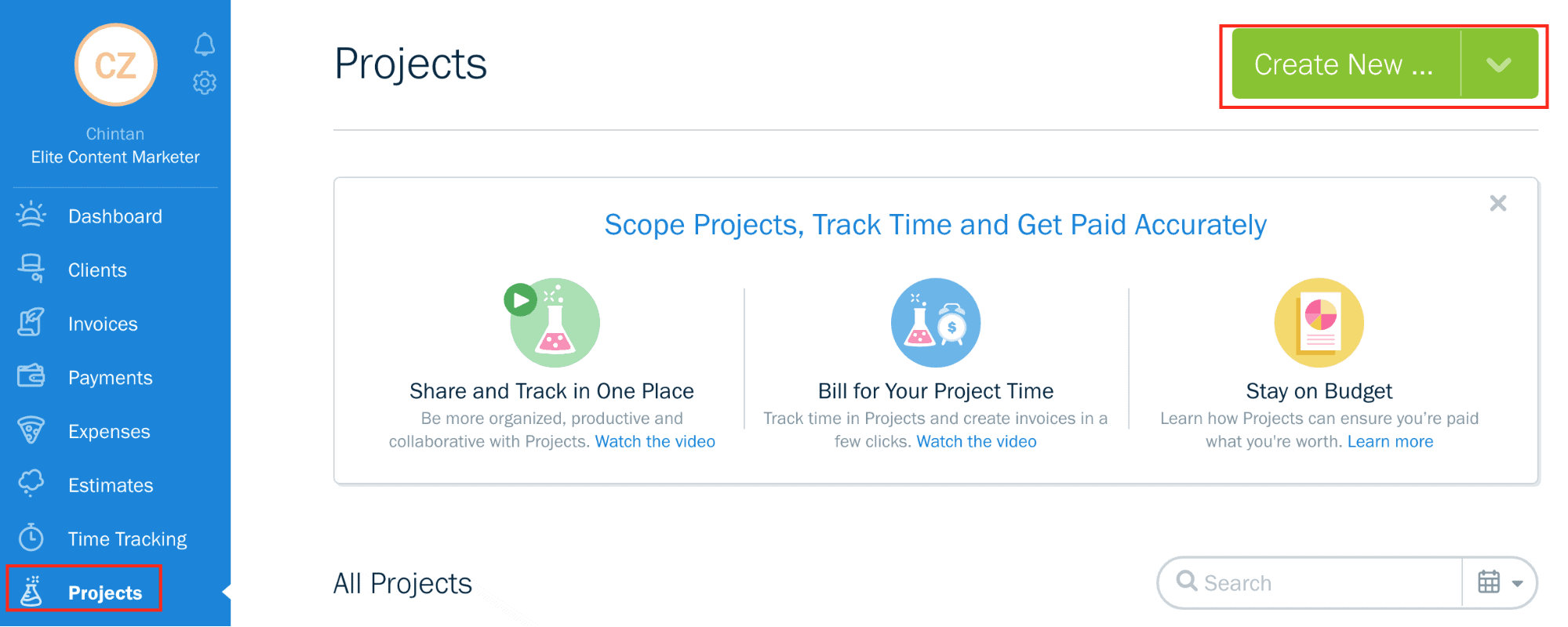 The Projects banner on Freshbooks