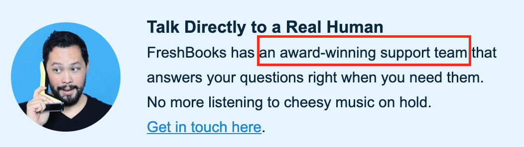 The customer service banner on FreshBooks review