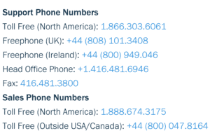 The toll free customer service numbers available on Freshbooks review