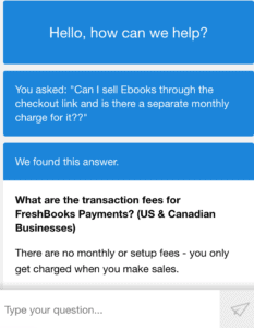 The chatbot on Freshbooks review