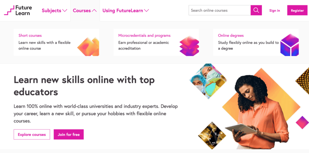 the home page for top learning platform FutureLearn