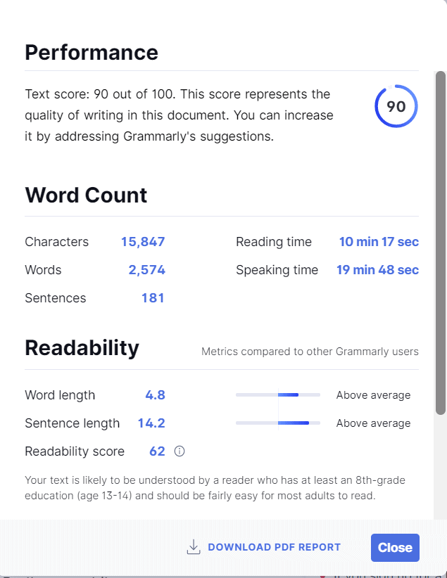 Performance, Word Count and Readability
