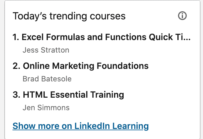 Today's top trending courses page