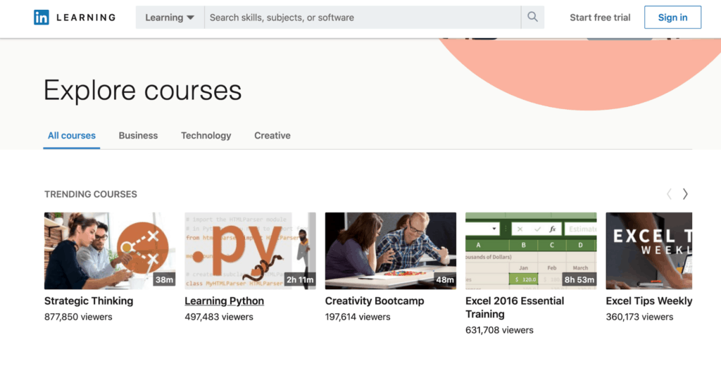 The main LinkedIn Learning page
