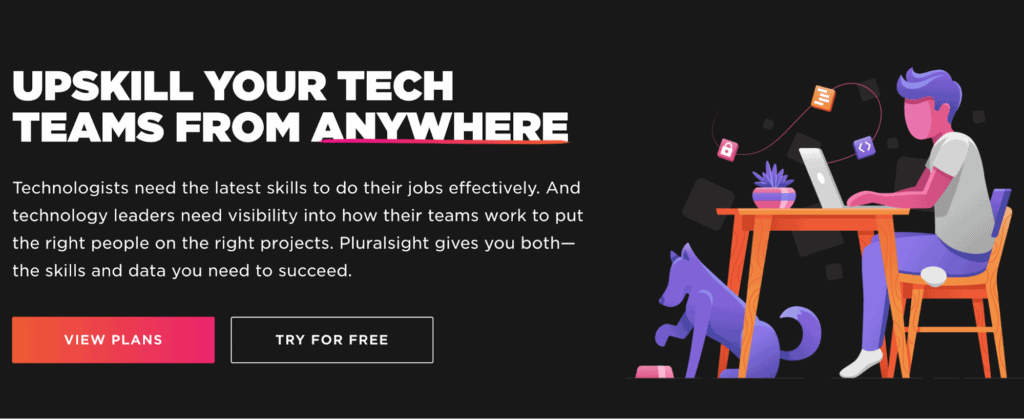 The sign up page for top learning platform Pluralsight