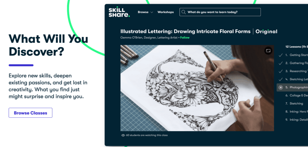 Discover page on top learning platform Skillshare