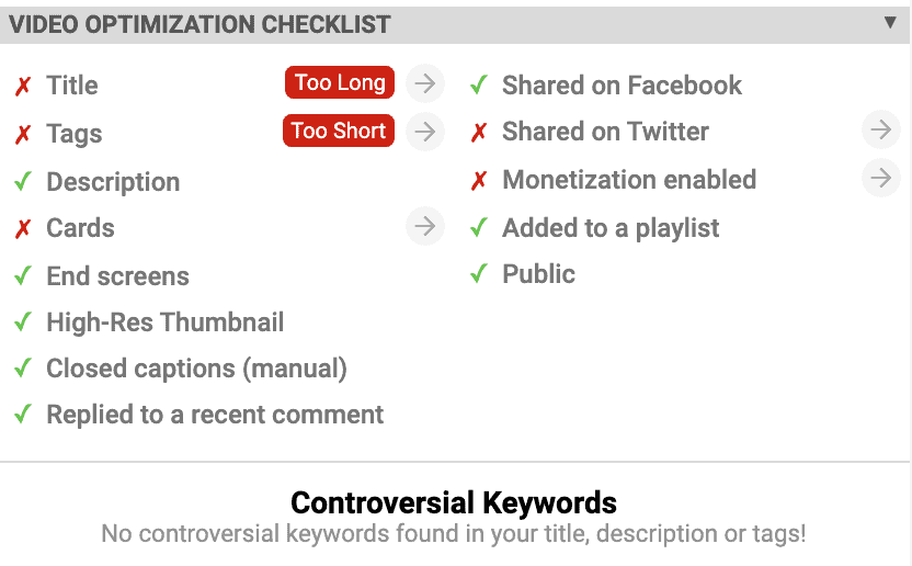 Video optimisation checklist on vidIQ along with controversial keywords