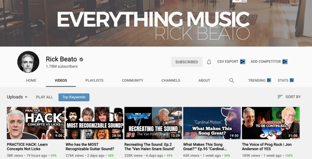 Channel page of Rick Beato