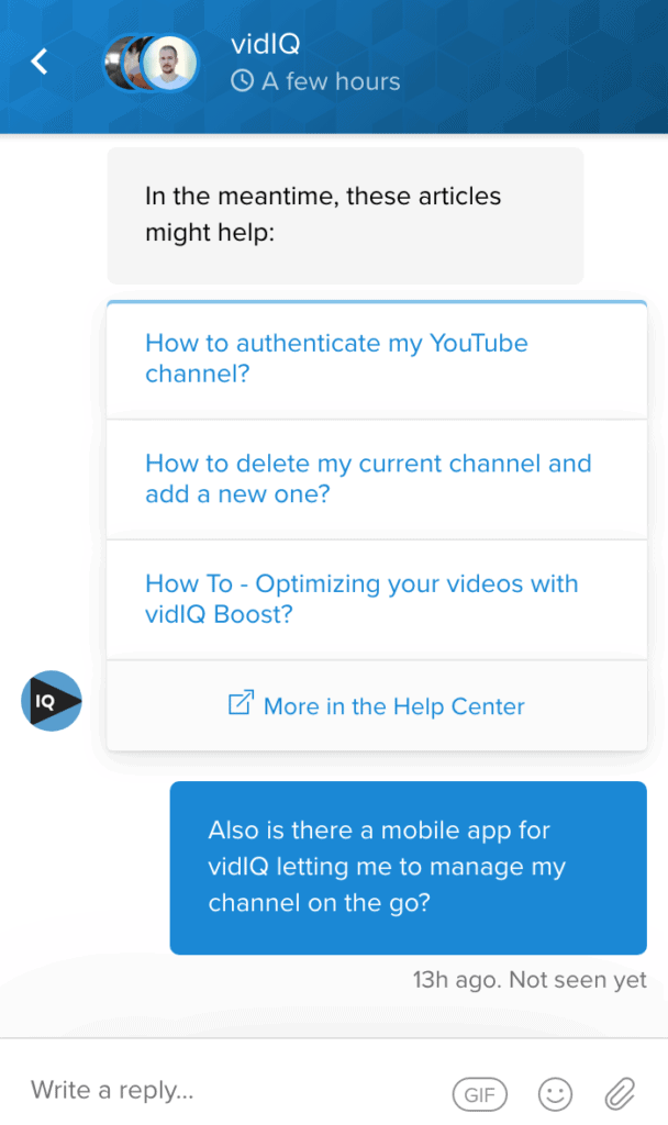 The live chat feature with on vidIQ