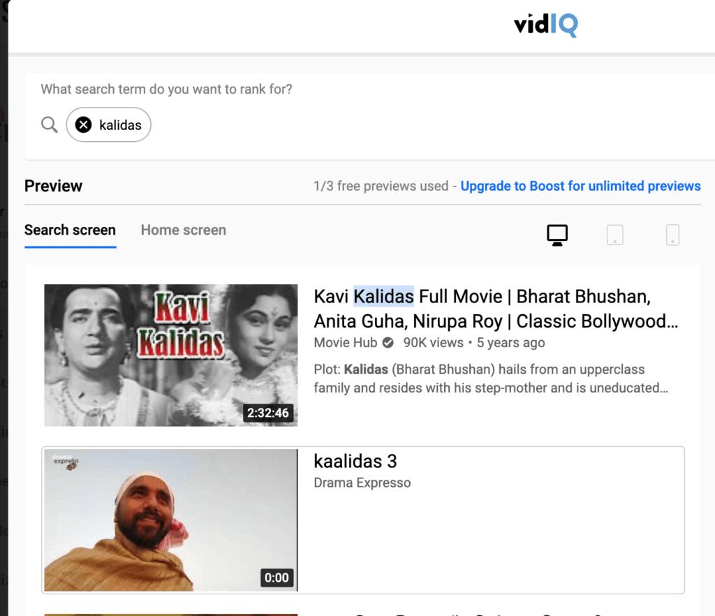 vidIq comparitive review of Thumbnails of similar videos