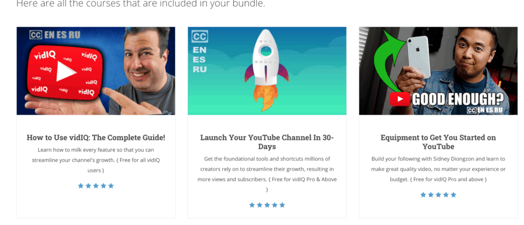 The courses availble to the user in their bundle