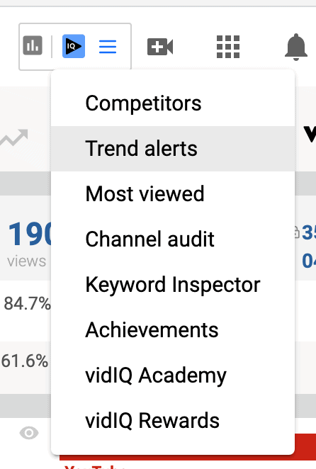 Select Trend Alerts in the video dropdown box