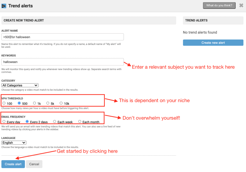 The trend alerts tab on vidIQ for email alert settings and the like
