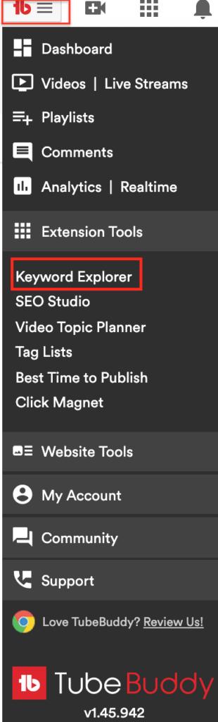 The Keyword Explorer under Extension Tools