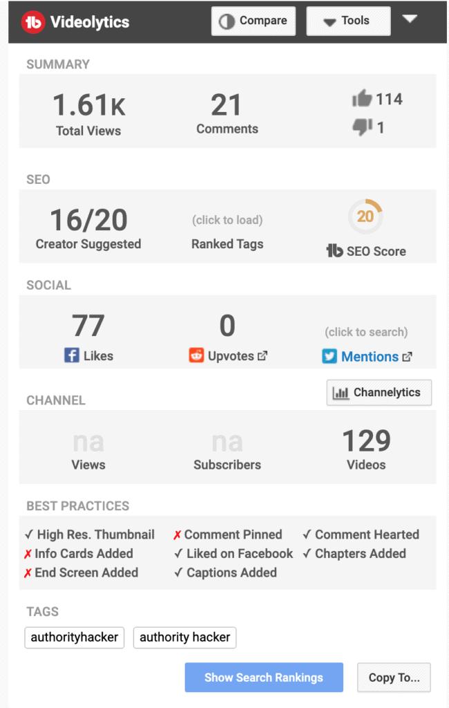 Video analytics available on Tubebuddy