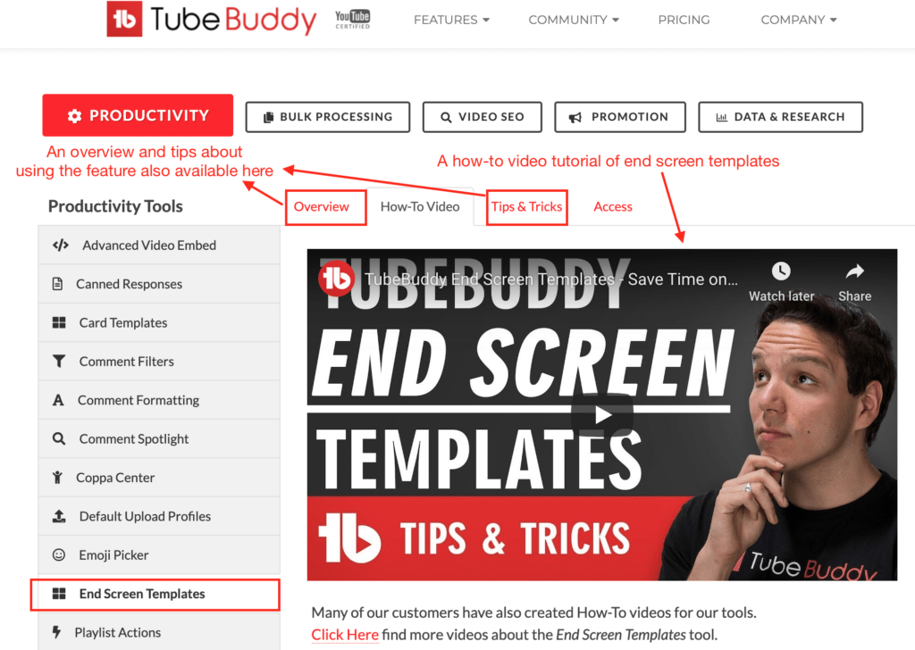 Tubebuddy dashboard with various options review