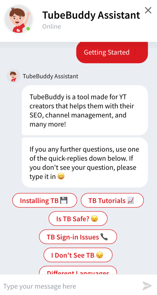 Chatbot tubebuddy review