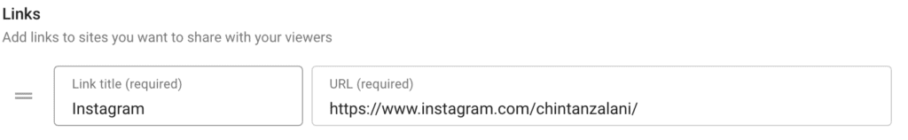 """This image shows an Instagram account added as a link in the """"Links"""" section."""