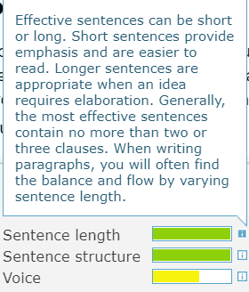 Sentence length, sentence structure and voice