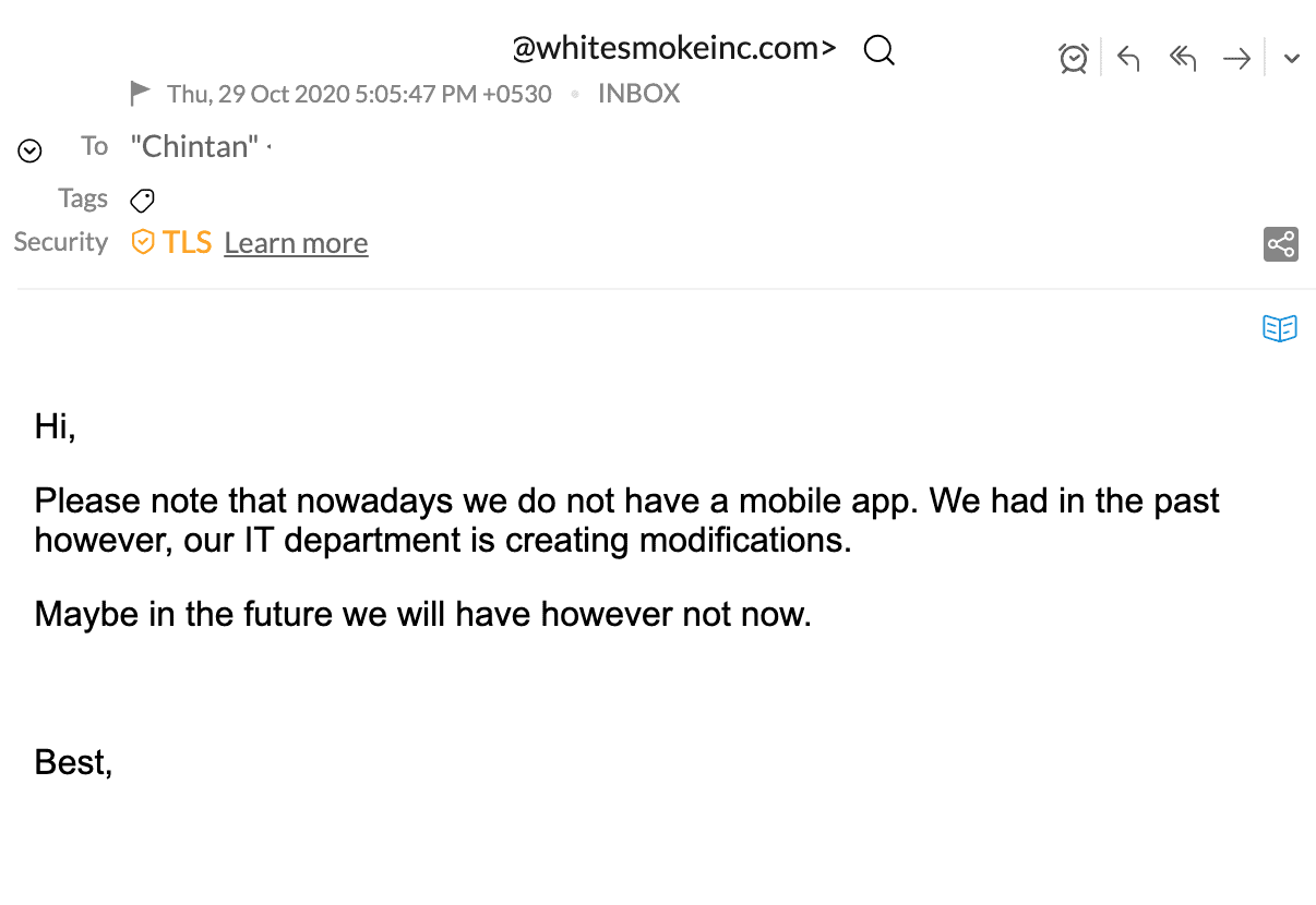 No mobile app available email reply