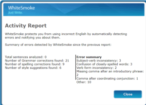 Activity report available on Whitesmoke Review