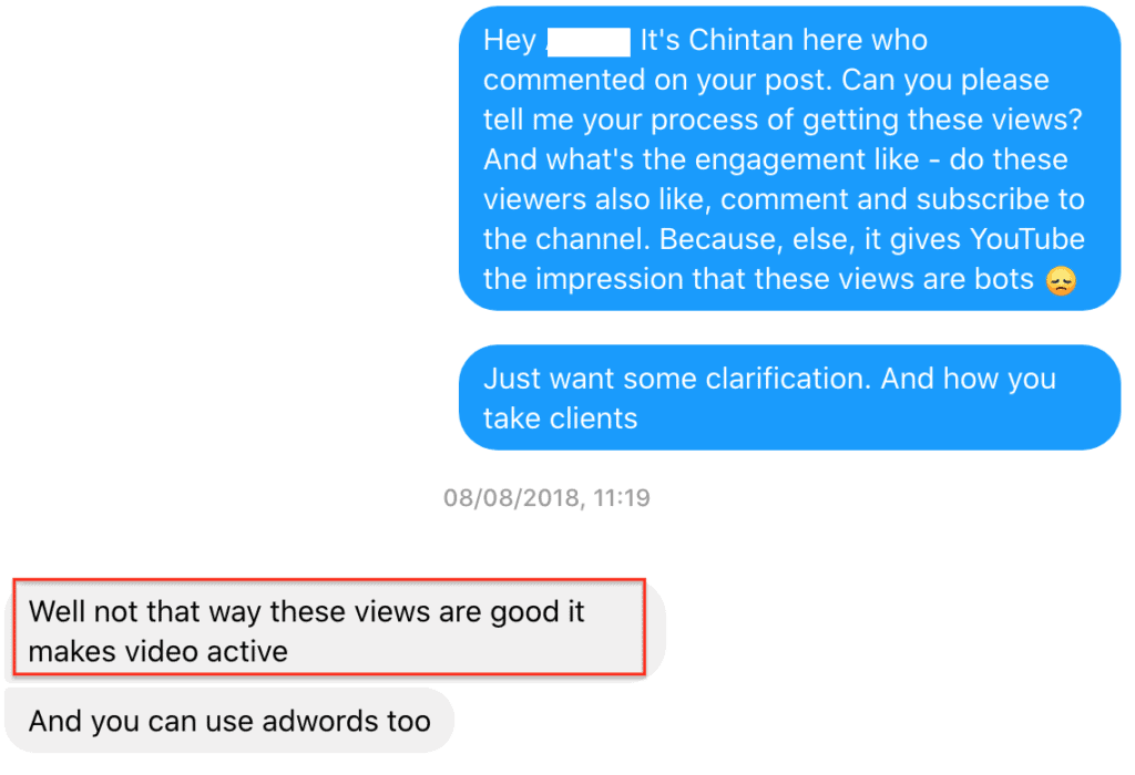 Conversation with a company from whom you can buy YouTube subscribers
