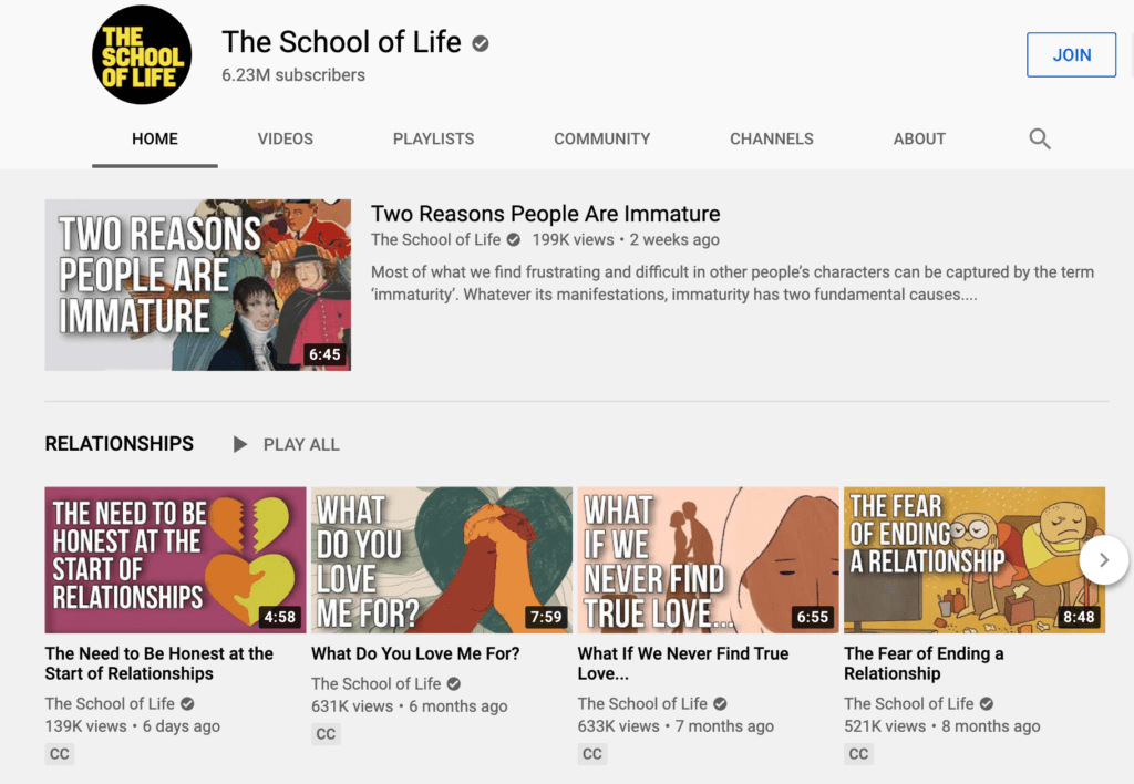 The Youtube page of the School of Life