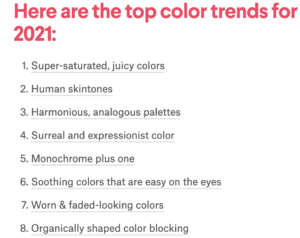 A list of the top color trends for visual content by 99Design.