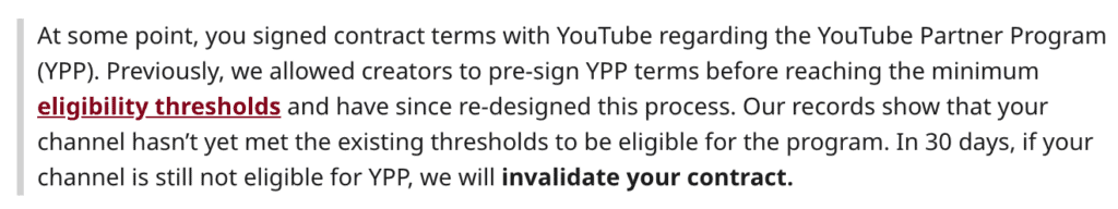 A message by a creator shared on Reddit, where YouTube informed them of invalidating their contract in 30 days if they don't meet the expected thresholds