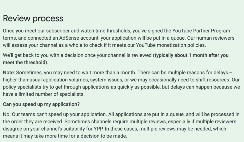 What YouTube has to say about the review process.