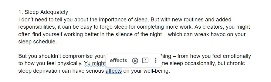Google Documents Grammar checker Key feature