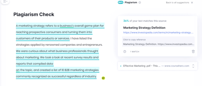 Grammarly's plagiarism checker offers more than just listing sources