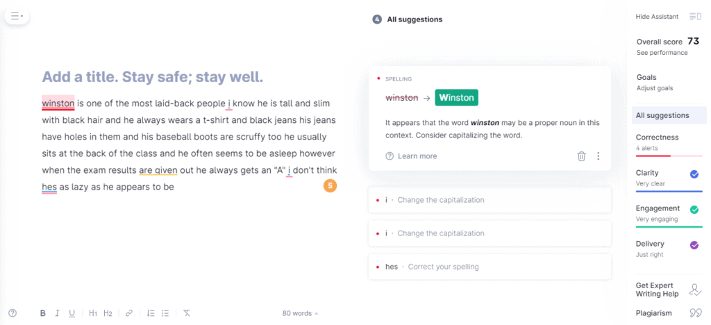 How Grammarly faired on the Best Punctuation Checker 2021 test