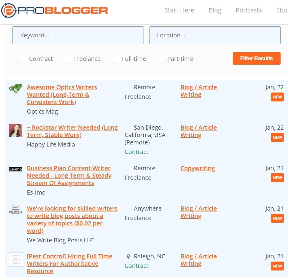 Problogger job page on Freelance Writing Job Boards