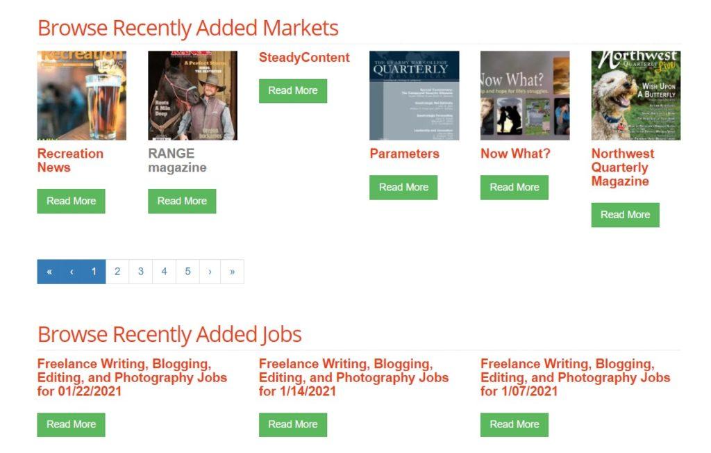 Writers Weekly job page