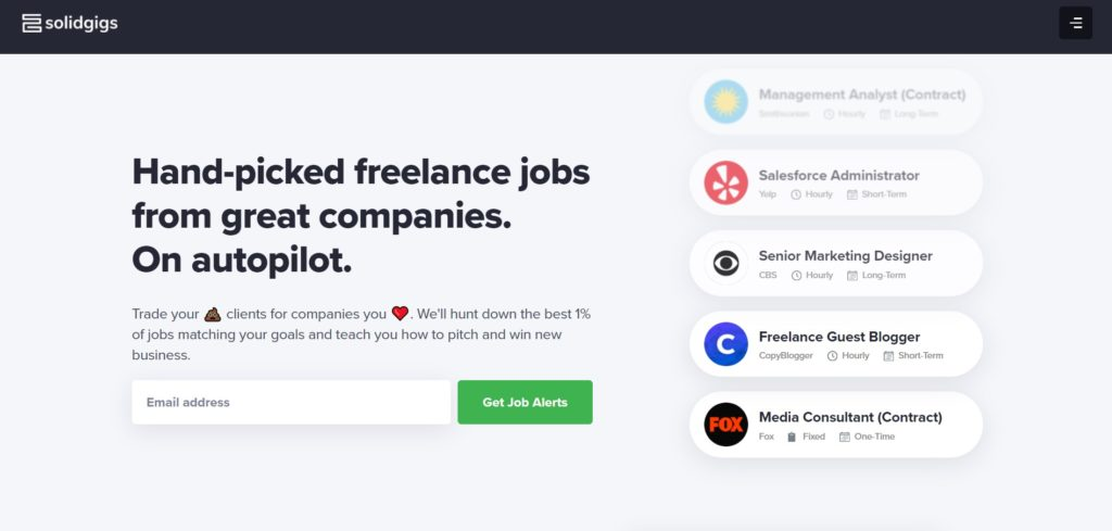 Solid Gigs job page on Freelance Writing Job Boards