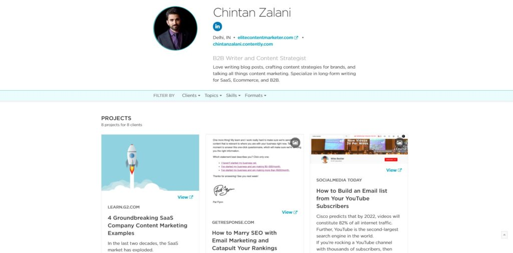 Chintan's Profile on Contently for Freelance Writing Jobs