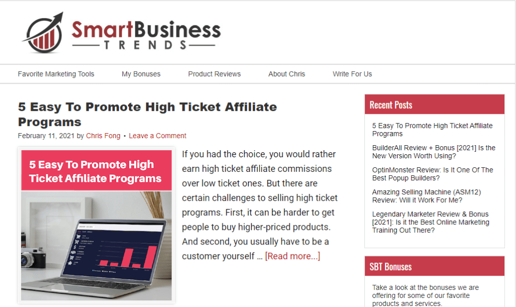 The homepage of Smart Business Trends