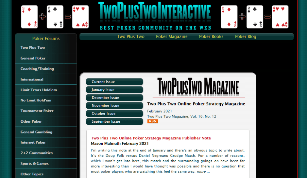 The homepage of TwoPlusTwo where you can Get Paid To Write